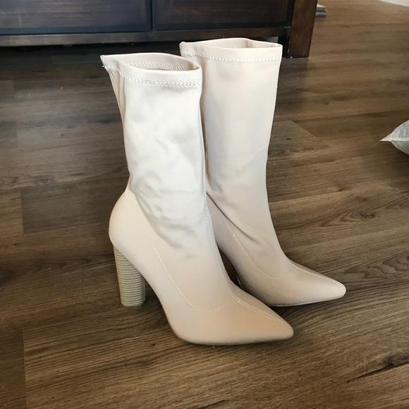 9fb6f5768a7 Cape Robbin Shoes | Nude Sock Heel Boots | Poshmark